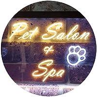 Pet Salon and Spa Illuminated Dual Color LED看板 ネオンプレート サイン 標識 白色 + 黄色 300 x 210mm st6s32-i0593-wy