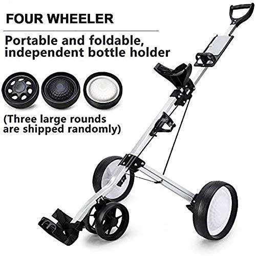 Delili Push Pull Golf Cart 4 Roues Push Pull Golf Cart Pliable Panier avec poignée réglable Angle, Facile et Carry Fold