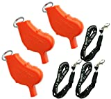 Windstorm World's 2nd Loudest Outdoor, Emergency, Safety, Marine, Police, Underwater, Survival Whistle | Compact & Hand Held | 3pk Bundle + Koala Lanyards, Orange