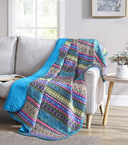 Chezmoi Collection Odette 1-Piece Boho Chic Blue Pink and Purple Pre-Washed 100% Cotton Bohemian Quilted Throw Blanket