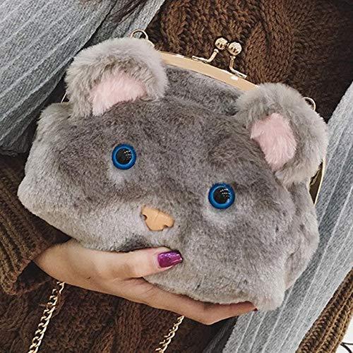 TOPCOMWW Dames tas schoudertas pluche kat clip ketting kleine tas cartoon dier schouder slung telefoon tas portemonnees en handtassen 20 * 18 * 9CM Grijs