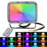 10W RGB Luces de Inundación del LED con Función de Memoria 16 Colores 4 Modos Focos IP66 Iluminación Exterior para Jardín, Paisaje, Escenario
