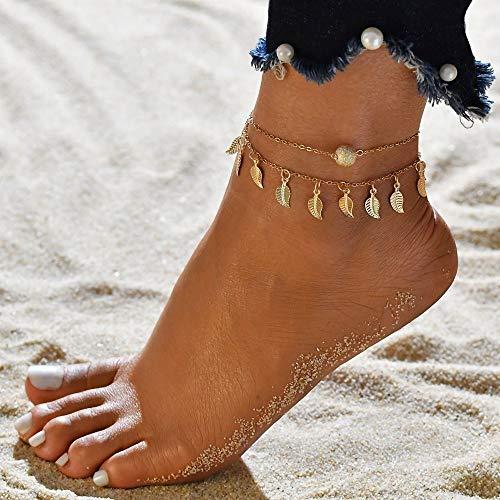 Juego de 3 tobilleras de cadena de color dorado para mujer, joyería para pies de playa, cadena para piernas, tobilleras, accesorios para mujer (color metal: 50162)