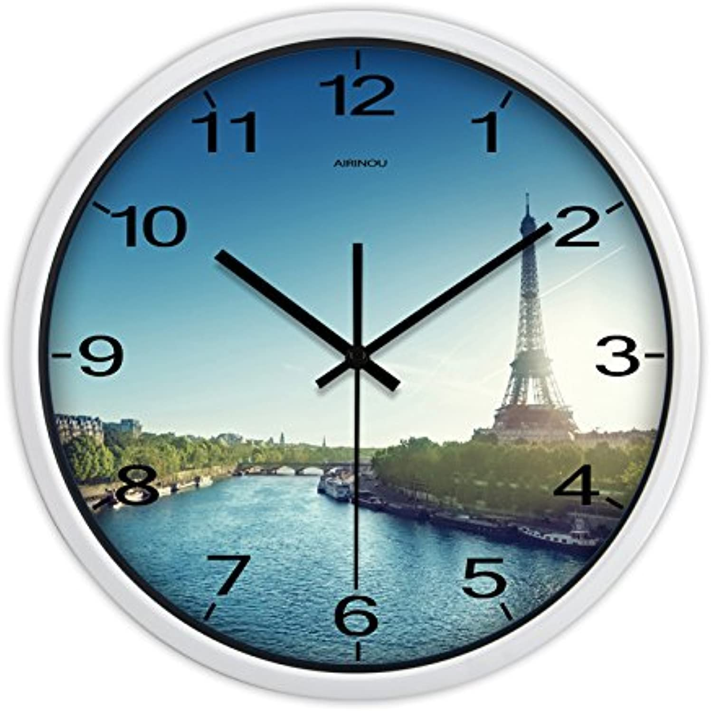 buena reputación La La La Torre Eiffel pintado creativo moderno salón reloj de parojo Reloj de cuarzo rojoondas simples en la Tabla 12   online barato