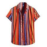 YSYOkow Camisas hawaianas de manga corta con estampado étnico casual para hombre con botones y estampado regular