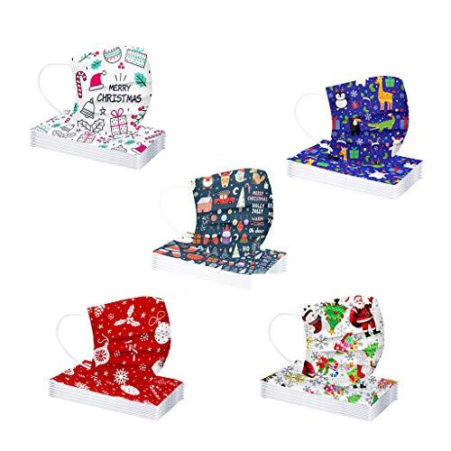 MaNMaNing Niños Protección 3 Capas 50 unidades Transpirables con Elástico para Los Oídos 20200821-MANING-MXZ5 (Navidad 5-2)