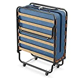 GOFLAME Rollaway Folding Bed with Soft Foam Mattress, Portable Guest Bed Cot Size with Metal Frame for Adults, Sleeper Bed with for Spare Bedroom and Office, Made in Italy (Blue)