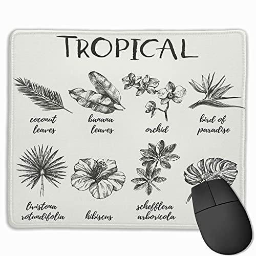 Gaming Mouse Pad, Premium-strukturierte Mouse Mat Pads, niedliches Mousepad für Spieler, Büro und Home Hand Flower Vintage Retro Skizze Tropische Pflanzen Illustrationen Heliconia Hawaii
