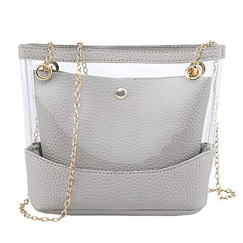 COZOCO Frauen arbeiten Dame Shoulder Bags Jelly Package Hasp-Handtaschen-Geldbeutel-Handykurierbeutel um(Grau)