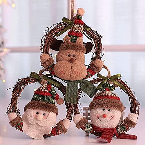 XinLuMing 3 Paquete 16 cm Corona de ratán, Colgante de Navidad Puerta de la Puerta de la Puerta de la Puerta de la Puerta de la Ventana Inicio Ventana Colgante Ornamentos (Color : Red)