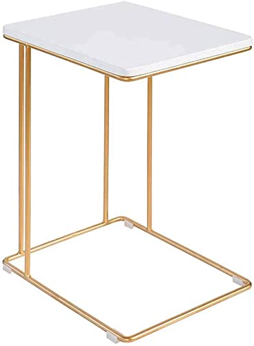 AFDK Table de chevet voiturerée en fer forgé Bureau pour ordinateur portable, mini-table de lecture Table de téléphone Table basse,B
