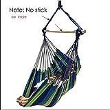 ハンモック ハンギングチェアポータブルハンモック旅行キャンプホームベッドルームベッドスティックロープなしで折りたたみ椅子の庭の装飾スイング (Color : No sticker and rope)