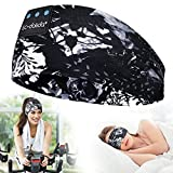 LC-dolida Sleep Mask with Bluetooth Headphones for Black Women, Painting Bluetooth Headband for Sleeping Sports Wireless Noise Cancelling Sleep Mask for Side Sleeper, Best Gift and Travel Accessories