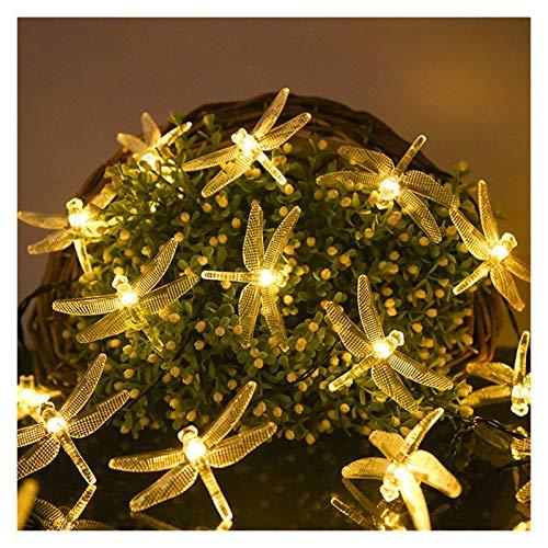 String Lights Christmas Solar Lights LED Solar Dragonfly Fairy String Lights Solar/Battery Powered Led Light Garland for Garden Decor (Emitting Color : Warm White)