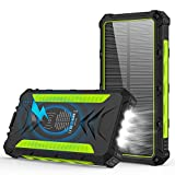 Solar Charger, 20000mAh Qi Wireless Power Bank, Wireless Portable Charger with 3 Outputs High-Speed 5V/3A & 4 LED Flashlight Camping Outdoor IP54 Rainproof Quick Charge for iPhone Android (Green)