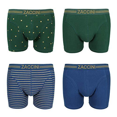 Zaccini Herren Boxershorts 4-er Pack Gold Stars & Stripes Geschenkbox, Größe:XL