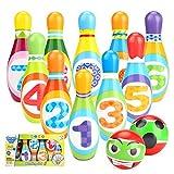 Juego de Bolos para niños con 10 alfileres y 2 Bolas,Bolera elota de Juguete para Bebé Infantil 2 3 4 Años