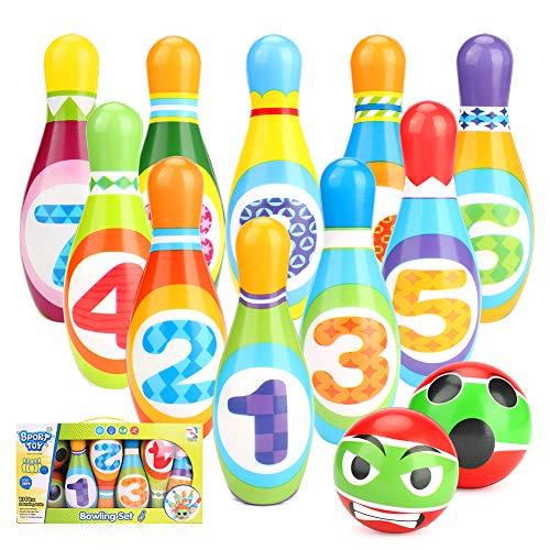welltop Kegelspiel für Kinder Bowling Ball Set mit 10 Kegel und 2 Bälle in netzbeutel Drinnen Draußen Spielzeug Geschenke Spiele ab 3 Jahren Junge Mädchen