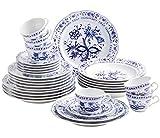 Kahla 170863A72067U Zwiebelmuster | Geschirr-Set Porzellan | Tafelservice 6 Personen blau weiß rund 30 teilig Set Teller Suppenteller Tassen