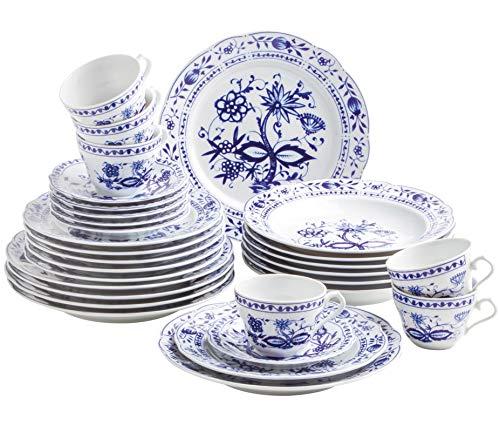 Kahla 170863M72067U Rossella Zwiebelmuster Komplettset Porzellanservice Geschirrset für 6 Personen 30-teilig Tassen Untertassen Teller Suppenteller Dessertteller weiß blau