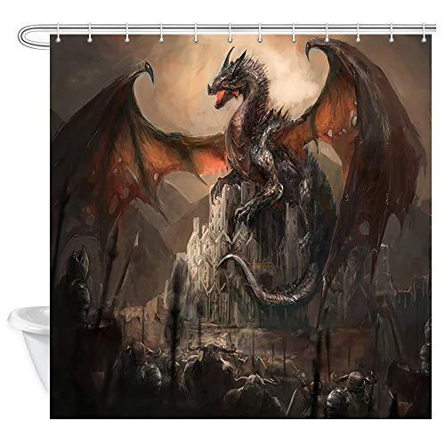 JAWO Fantasy Shower Curtain, Gothic Dragon on Castle, Polyester Fabric Bath Curtains Set with Hooks 69W X 70L Inches