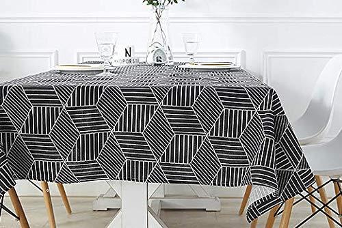 Baisheng Tischdecke Langlebig geschmacklos Tischdecke Rechteckig Stoff Bedruckt Tischdecke für den Innen- und Außenbereich (Schwarz gestreifter Diamant-47 * 63Inch/120 * 160cm)