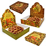 """Thanksgiving Pie Boxes 12"""" x 12"""" x 2.5"""" Set of 6 Large Decorative Autumn Kraft Bakery Box Harvest Pumpkin Pies Display Boxes Cardboard Fall Baking Container for Muffins Donuts Cookie and Pastry Treats"""