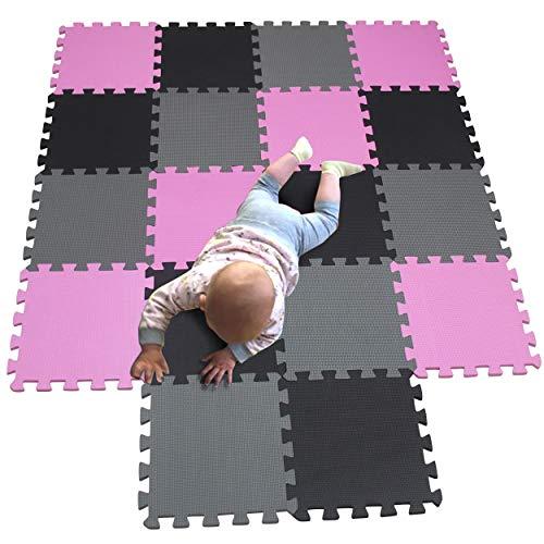 MQIAOHAM Esterilla Puzzle de Fitness-18 losas de EVA Espuma Alfombrilla Protección para el Suelo para máquinas Deporte y gimnasios sobre el Piso Fácil de Limpiar Rosa Negro Gris 103104112