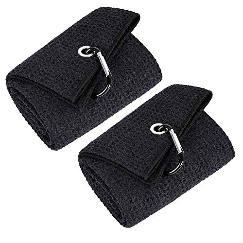 Mile High Life Tri-fold Golf Towel   Premium Microfiber Fabric   Waffle Pattern   Heavy Duty Carabiner Clip (Black +...