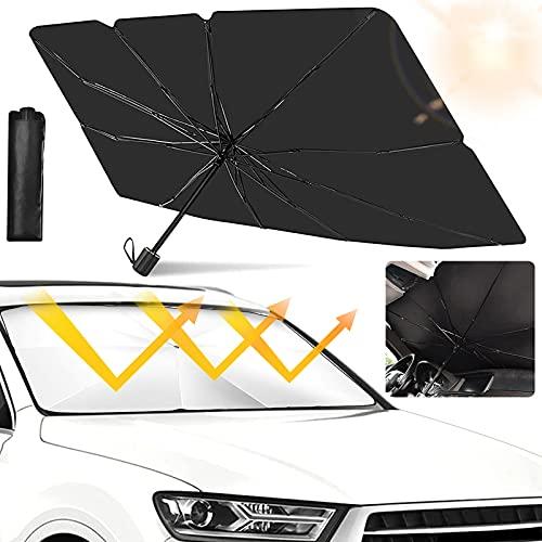 Auto Sonnenschutz,Auto Frontscheibe,145*79cm Sonnenschutz für frontscheiben,Auto für windschutzscheibe,Auto Sonnenschirm,Faltbarer Frontscheibe ür die Meisten Autos, SUVs & LKWs (schwarz)