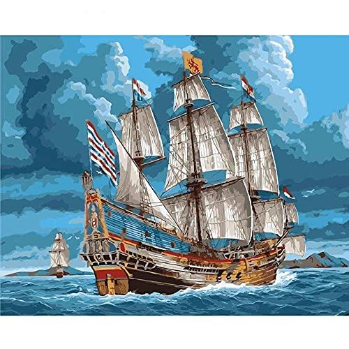 Pintura de paisaje por número, dibujar sobre lienzo con imágenes para adultos, pintura acrílica, color por número, arte decorativo W7 50x65cm