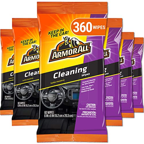 Armor All Car Interior Cleaner Wipes for Dirt & Dust – Cleaning for Cars & Truck & Motorcycle, 360 Count, 19266-6PK