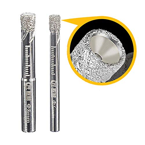 Juego de 2 brocas de diamante, para azulejos, cristal, 6,8 mm, para cerámica, granito, vidrio, porcelana, azulejos