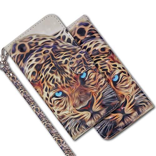 MRSTER Samsung S6 Handytasche, Leder Schutzhülle Brieftasche Hülle Flip Case 3D Muster Cover mit Kartenfach Magnet Tasche Handyhüllen für Samsung Galaxy S6. RX 3D - Leopard
