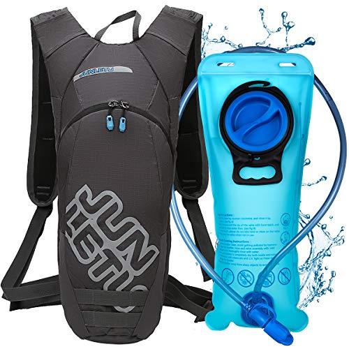 LUROON Mochila de Hidratación con 2L Bolsa de Agua sin BPA, Ligero Portátil Mochila de Correr para Hacer Ejercicio, Escalar, Acampar, Esquiar, Bicicleta, Trekking para Hombres Mujeres (Gris)