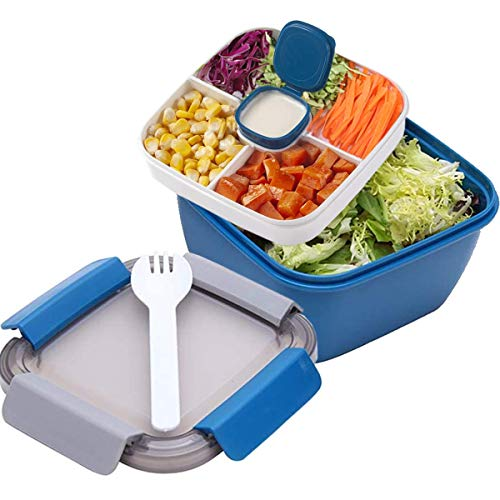 Salad Lunch Container with Large 51-oz Bowl, 3-Compartment Bento-Style Tray for Salad Toppings and Snacks, 3-oz Sauce Container for Dressings, and Built-In Reusable Fork