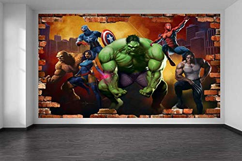 Kids Cartoon Marvel The Avengers 3D Smashed Wall Removable Wall Sticker Poster Mural Art UK (90 x 65 cm)