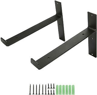 棚受け ブラケット アイアン 2本セット L字型 金属 ブラック 工業風 アンティーク調 ネジ付き 20cm (T型)