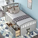 Platform Storage Bed Solid Wood Bed with 6 Drawers Twin Size