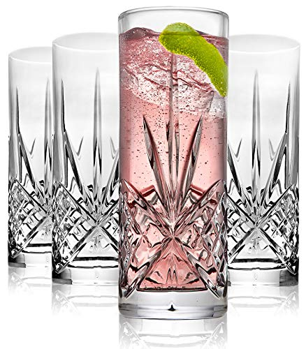 Godinger Tall Beverage Glasses Collins All Purpose - Dublin Collection, SET OF 4