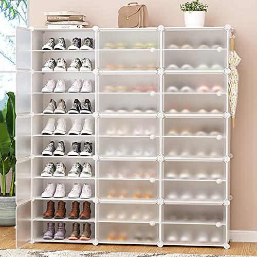 Apilable Zapatero,Armarios De Almacenamiento De Zapatos Independientes Con Estanterías Ajustables Y Puerta Transparente,Gabinete Modular Para Dormitorio-Blanco. 10-tier 126x31x158cm(50x12x62inch)