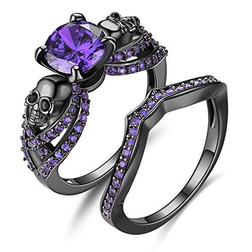 YANLNER925 Gothic Black Skull Rings Red Crystal Ring Rings for Women (Purple, 7)