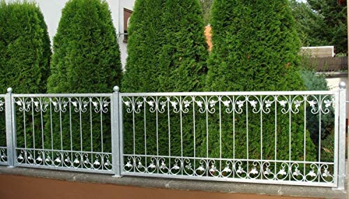 Schmiedeeisen Zaun Zäune Eisen Gartenzaun Metall Monaco-Z60/200 Feuer Verzinkt Zaunelement gerade 60 cm hoch 200 cm lang