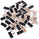 Youery 50 Piezas Mini clips de pizarra,pizarra de madera con clip de nota de foto,tablero de mensajes,signos de número de tabla,boda,bar,etiqueta de alimentos,decoración de fiesta