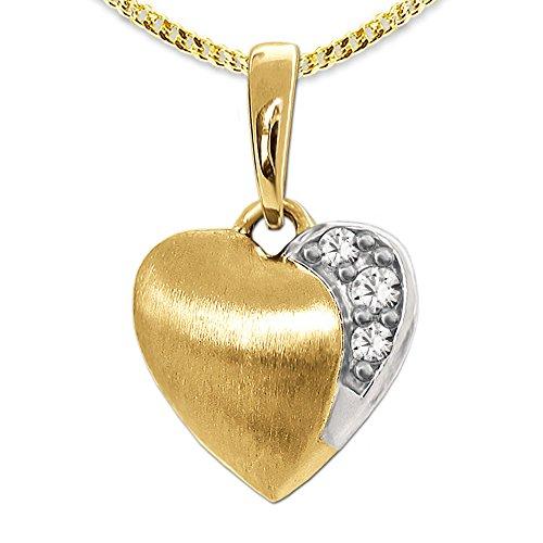 Clever Schmuck Set gouden hanger mini hart 8 mm mat, bicolor met 3 zirkonia's in wit 333 goud 8 karaat en vergulde ketting 45 cm in etui