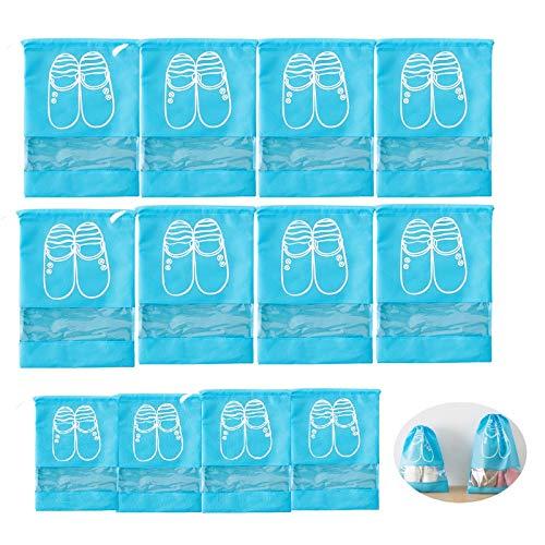 WACYDSD Bolsas de Zapatos de Almacenamiento De Viajes 12Pcs, Bolsa De Organizador De Almacenamiento A Prueba De Polvo A Prueba De Agua con Cordón & Ventana Clara