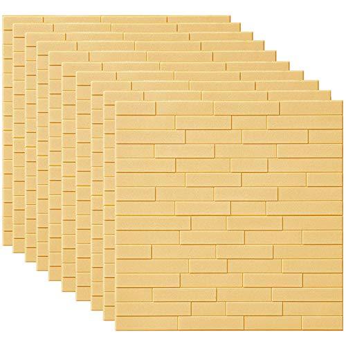 GL-GDD Paquete de 10 Paneles de Pared 3D para pelar y Pegar Azulejos contra Salpicaduras Autoadhesivo Papel Tapiz de Espuma PE Fondo Impermeable Decoración de Pared se Puede empalmar Bricolaje,1