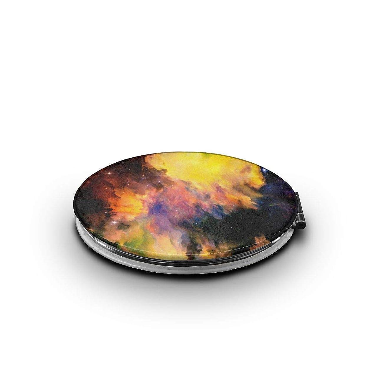 スモッグ物思いにふけるブームミラー 化粧鏡 星雲銀河宇宙星空パターン コンパクトミラー 軽量 丸型 折りたたみ鏡