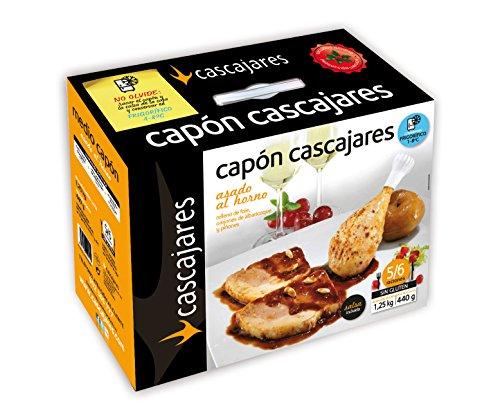 CASCAJARES - Medio Capón relleno de Foie, Orejones de Albaricoque y Piñones. Capón relleno de 1,25 kilos y medio litro de salsa de albaricoque, para 5-6 personas. Sin gluten ni lactosa.