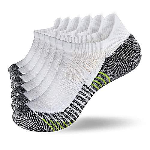 Fioboc Calcetines Deportivos 6 Pares para Hombres & Mujeres Calcetines de Tobillo Corte Bajo Deportivos Compresión Rendimiento Calcetines (Blanco, 39-42)